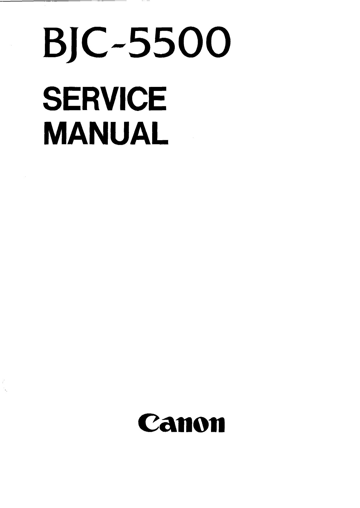 Canon BubbleJet BJC-5500 Service Manual